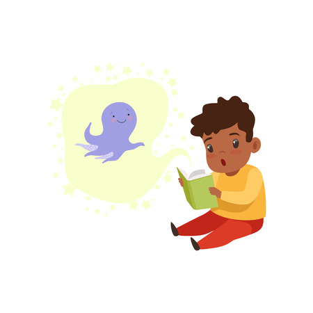 Cute little boy reading a scary book, kids fabulous imagination concept vector Illustration isolated on a white background.  イラスト・ベクター素材