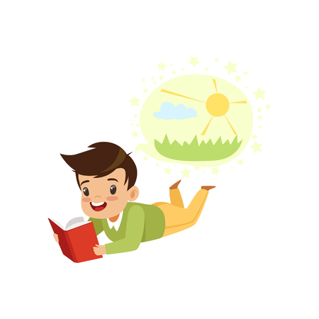 Boy lying on his stomach and reading a book, kids imagination concept vector Illustration isolated on a white background. Illustration