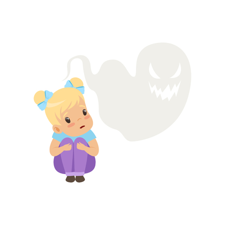 Cute little girl scared of ghosts, kids imagination concept vector Illustration isolated on a white background.