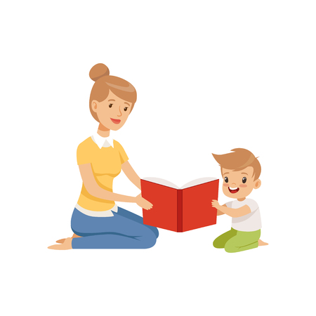 Mother reading a book to her little son vector Illustration isolated on a white background.