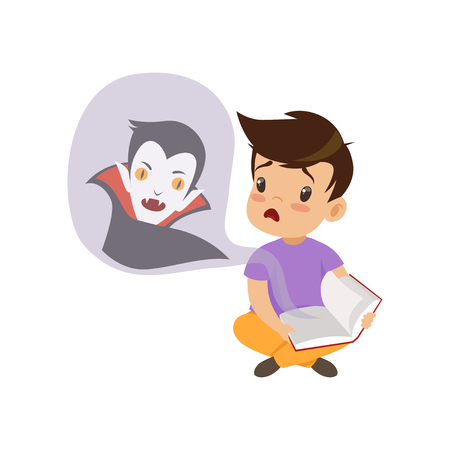 Cute little boy reading a scary book about vampires, kids fabulous imagination concept vector Illustration isolated on a white background.
