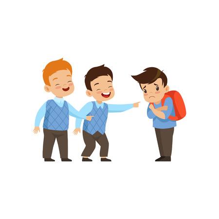 Jongens lachen en wijzen op trieste jongen, slecht gedrag, conflict tussen kinderen, spot en pesten op school vector illustratie geïsoleerd op een witte achtergrond.