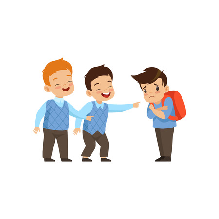 Boys laughing and pointing at sad boy, bad behavior, conflict between kids, mockery and bullying at school vector Illustration isolated on a white background.