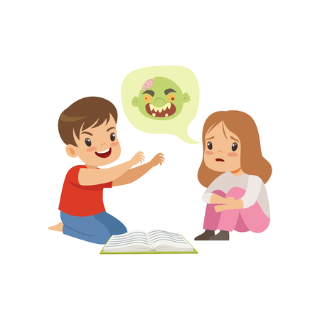 Cute little boy and girl reading a scary book, kids fabulous imagination concept vector Illustration isolated on a white background.