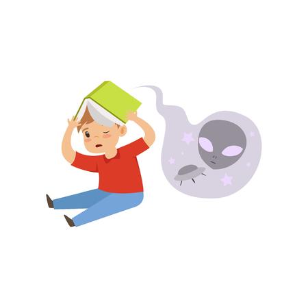 Erschrockener kleiner Junge, der ein Horrorbuch liest, Märchenphantasiebuch liest, fabelhafte Fantasievektorillustration der Kinder lokalisiert auf einem weißen Hintergrund. Vektorgrafik