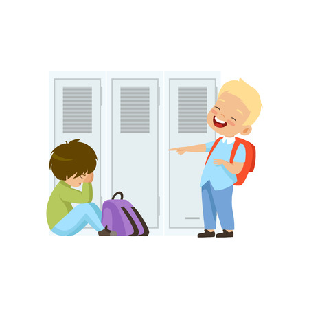 Chłopiec śmieje się i wskazuje na innego chłopca, który siedzi na podłodze, złe zachowanie, konflikt między dziećmi, kpina i zastraszanie w szkole wektor ilustracja na białym tle.