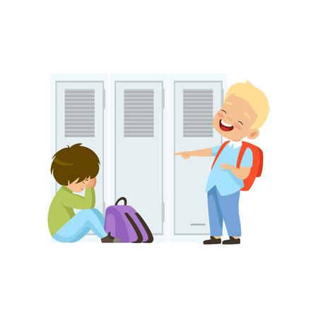 Ragazzo che ride e indica un altro ragazzo che è seduto sul pavimento, cattivo comportamento, conflitto tra bambini, derisione e bullismo a scuola vettoriale illustrazione isolato su sfondo bianco.