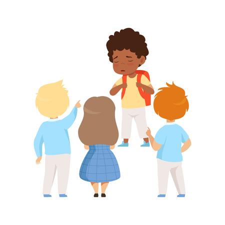 Kinderen bespotten een Afrikaanse Ameican jongen, slecht gedrag, conflict tussen kinderen, spot en pesten op school vector illustratie geïsoleerd op een witte achtergrond.