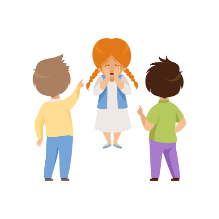 Boys mocking and pointing at a crying girl, bad behavior, conflict between kids, mockery and bullying at school vector Illustration isolated on a white background. Illustration