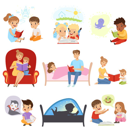 Children reading books and dreaming, parents reading bedtime stories for their kids, imagination and fantasy concept vector Illustration on a white background