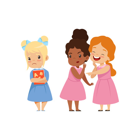 Naughty girls mocking another, bad behavior, conflict between kids, mockery and bullying at school vector Illustration isolated on a white background.