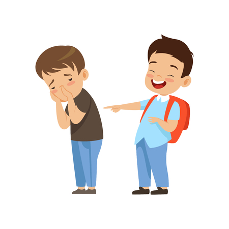 Classmate laughing and pointing at sad boy, bad behavior, conflict between kids, mockery and bullying at school vector Illustration isolated on a white background.