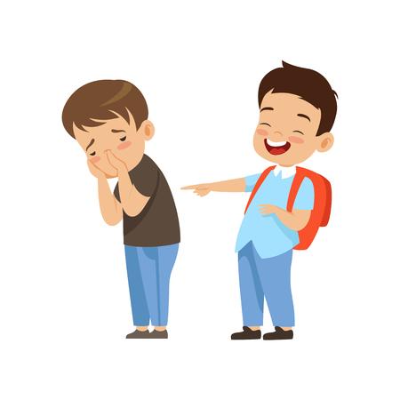 Kolega z klasy, śmiejąc się i wskazując na smutnego chłopca, złe zachowanie, konflikt między dziećmi, kpiny i zastraszanie w szkole wektor ilustracja na białym tle. Ilustracje wektorowe