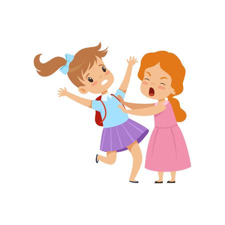 Twee meisjes vechten, slecht gedrag, conflict tussen kinderen, spot en pesten op school vector illustratie geïsoleerd op een witte achtergrond.