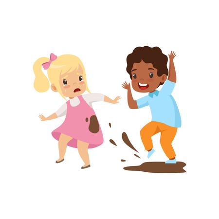 Niño ensuciando a la niña con suciedad, mal comportamiento, conflicto entre niños, burla y acoso en la escuela vector ilustración aislada sobre fondo blanco.