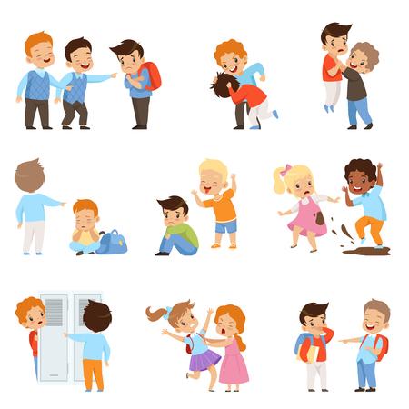 Kinderen pesten de zwakken set, jongens en meisjes bespotten klasgenoten, slecht gedrag, conflict tussen kinderen, spot en pesten op school vector illustratie geïsoleerd op een witte achtergrond.