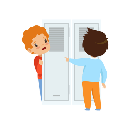 Classmate mocking a boy who hiding behind the door, bad behavior, conflict between kids, mockery and bullying at school vector Illustration isolated on a white background.