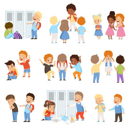 Niños intimidando al conjunto de weaks, mal comportamiento, conflicto entre niños, burla y acoso en la escuela vector ilustración aislada sobre fondo blanco. Ilustración de vector