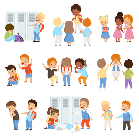 Kids bullying the weaks set, bad behavior, conflict between children, mockery and bullying at school vector Illustration isolated on a white background.