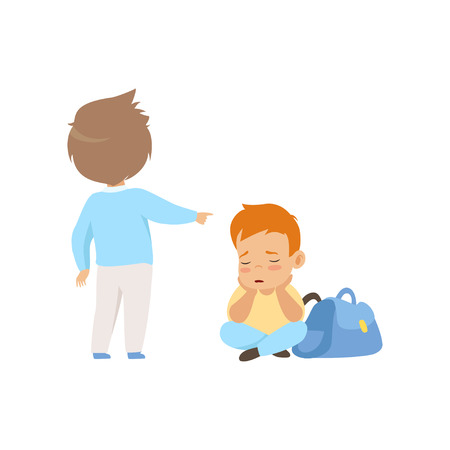 Sad boy sitting on the floor, classmate mocking and pointing him, bad behavior, conflict between kids, mockery and bullying at school vector Illustration isolated on a white background.