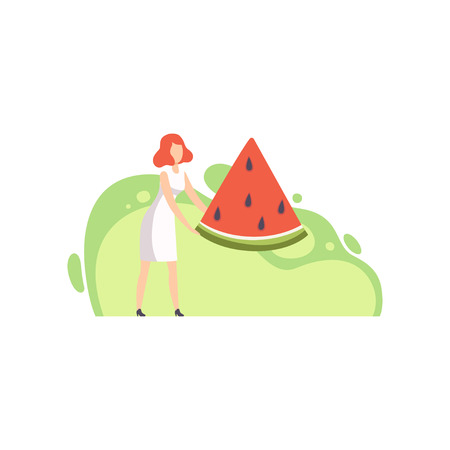 Young woman holding a huge piece of ripe watermelon vector Illustration on a white background