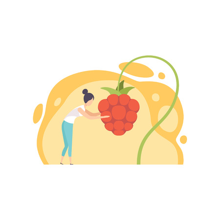 Young woman picking huge cloudberry berries vector Illustration on a white background