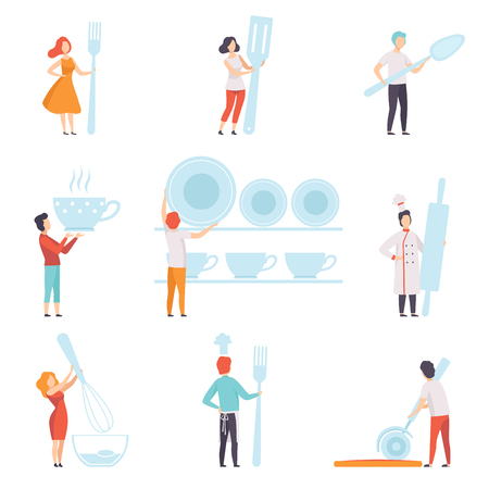 People holding giant kitchen tools set, faceless man and woman standing with kitchenware vector Illustration on a white background