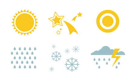 Weather and nature symbols set, sun, star, snow, rain, thunderstorm, cloud vector Illustration isolated on a white background. Иллюстрация