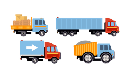 Trucks set, delivery vehicles, side view vector Illustration isolated on a white background.