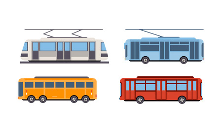 Trolley bus, tram, bus, public city transportation vehicles set vector Illustration isolated on a white background. Illustration