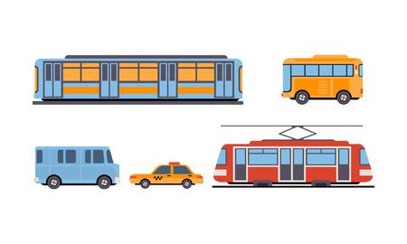 Metro, autobus, tramwaj, taksówka, publiczne miasto i pojazdy transportu międzymiastowego zestaw wektor ilustracja na białym tle. Ilustracje wektorowe