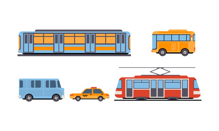 Subway, bus, tram, taxi, public city and intercity transportation vehicles set vector Illustration isolated on a white background.