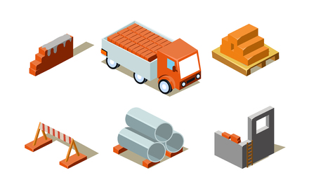Construction buildings process, industrial materials, elements for computer game interface vector Illustration isolated on a white background.