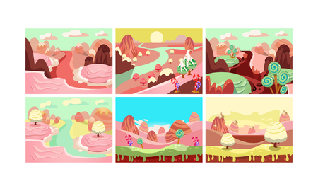 Fairy tale landscape collection, candy land, details for computer game interface vector Illustration isolated on a white background. Illustration