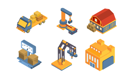 Warehouse equipment, delivery and cargo transportation, shipping service vector Illustration isolated on a white background. Illustration