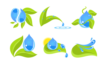 Green leaves and water drops set, ecology concept vector Illustration isolated on a white background