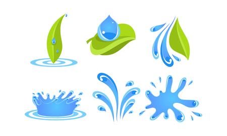 Grüne Blätter, Wassertropfen und Spritzer, Ökologie-Konzept-Vektor-Illustration auf weißem Hintergrund Vektorgrafik