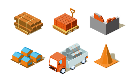 Building work process set, elements for computer game interface vector Illustration isolated on a white background.