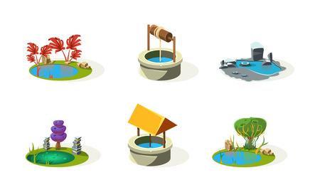Lago, stagno, beh, elementi di fantasia dell'insieme del paesaggio, risorse dell'interfaccia utente per app mobile o videogioco vettoriale illustrazione isolato su sfondo bianco.