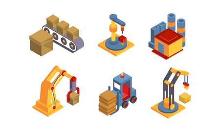 Warehouse elements set, intelligent manufacturing, robotic arm, delivery and cargo transportation vector Illustration on a white background Banque d'images - 111034986