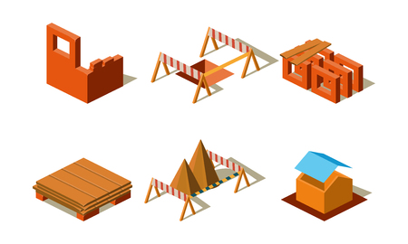 Construction buildings and wall structures, elements for computer game interface vector Illustration isolated on a white background.