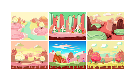 Sweet fantasy landscape set, candy land, elements for computer game interface vector Illustration isolated on a white background. Ilustracja