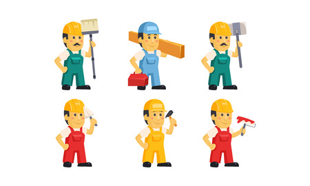 Builder workers in uniform with various construction tools, handymen cartoon characters vector Illustration isolated on a white background.