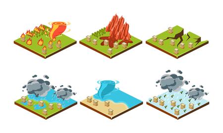 Natural disasters set, landslide, earthquake, hurricane, flood, thunderstorm, tsunami vector Illustration on a white background