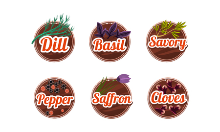 Herbs and spices kitchen badges set, dill, basil, savory, pepper, saffron, cloves labels vector Illustration isolated on a white background.
