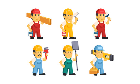Builder workers in overalls with different tools set, construction staff cartoon characters vector Illustration isolated on a white background.