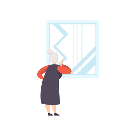 Elderly woman looking at the picture hanging on the wall, exhibition visitor viewing museum exhibit at art gallery, back view vector Illustration on a white background