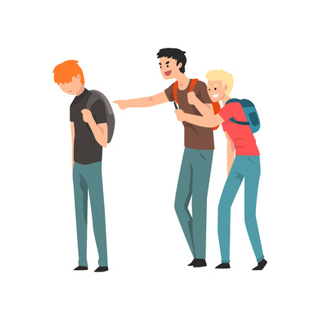 Two teen students bullying another at school, conflict between teenagers, mockery and bullying at school vector Illustration isolated on a white background. Ilustracja