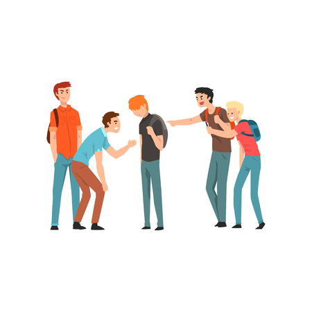 Teen students laughing and pointing at boy, conflict between teenagers, mockery and bullying at school vector Illustration isolated on a white background.