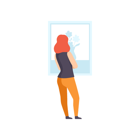 Woman in casual clothing looking at the painting hanging on the wall, female exhibition visitor viewing museum exhibit at art gallery, back view vector Illustration